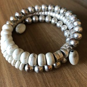 Jewelry - Pretty, wrap bracelet in cream and antiqued silver